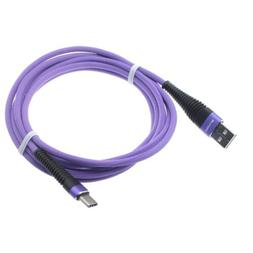 Purple Braided 10ft Long Type-C USB Cable Sync Wire Power Co
