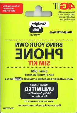 STRAIGHT TALK SIM CARD GSM PHONES  NETWORK ACTIVATION KIT BY